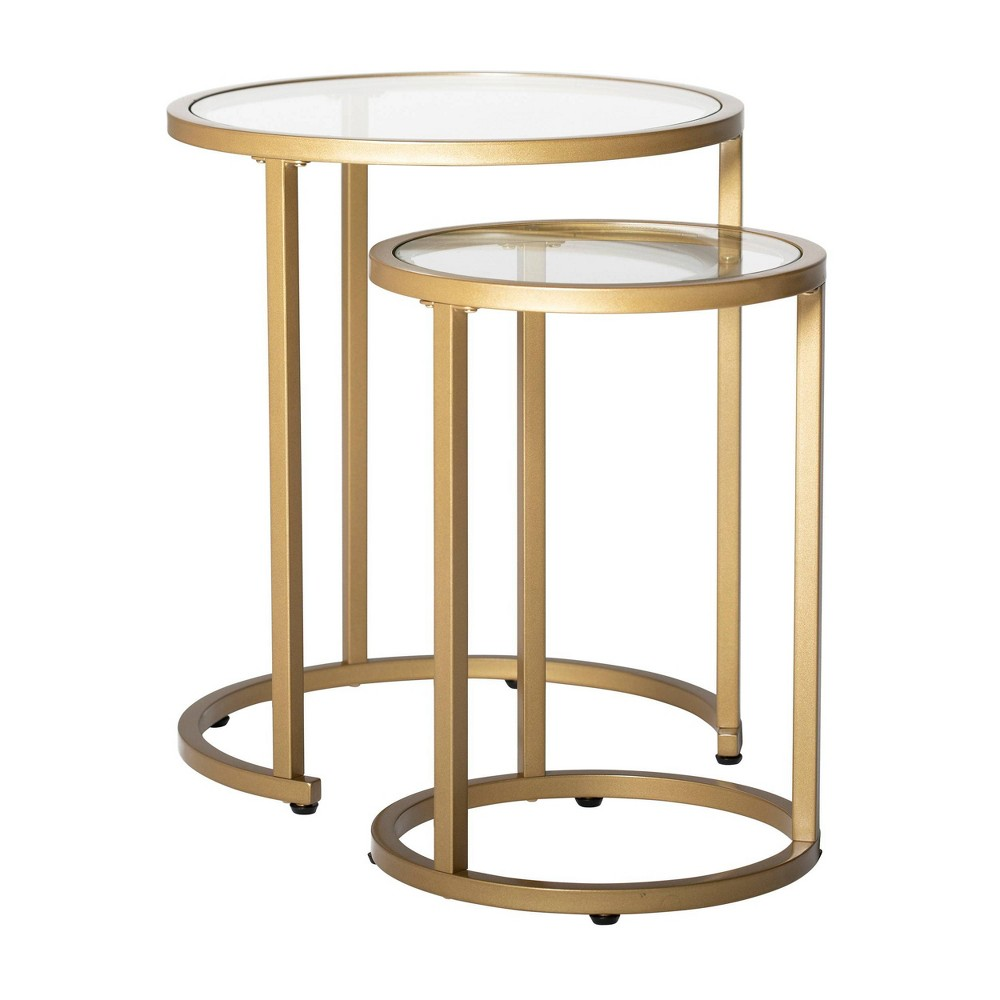 "Image of ""20"""" Camber Modern Glass Round Nesting Table Gold - Studio Designs Home"""
