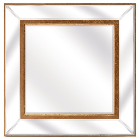 Square Decorative Wall Mirror Gold Leaf - Aurora Lighting - image 1 of 1