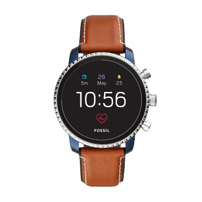 Fossil Gen 4 Smartwatch - Explorist HR 45mm Blue IP with Luggage Leather