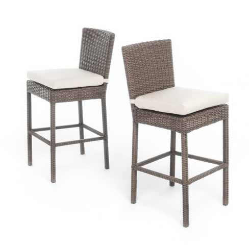 Barcelona Set of 2 Wicker Counter Height Dining Chairs with Sunbrella Cushions - Mixed Brown - Christopher Knight Home - image 1 of 4
