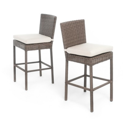 Barcelona Set Of 2 Wicker Counter Height Dining Chairs With Sunbrella  Cushions   Mixed Brown   Christopher Knight Home