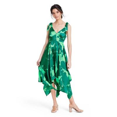 Tie Strap Asymmetrical Hem Dress - ALEXIS for Target Green