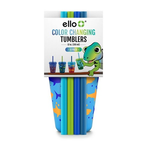 Ello Plastic 12oz 4pk Chameleon Color Changing Cups With Twist on Lids - image 1 of 3