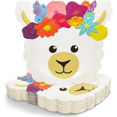 Blue Panda 48-Pack Llama Birthday Disposable Party Paper Plates, 9 x 10 Inches