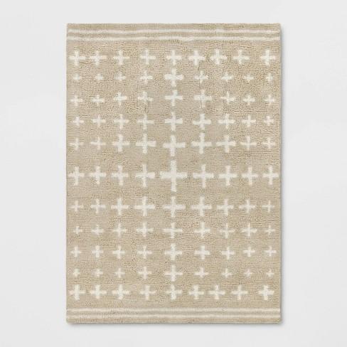 Elata Cross Shag Rug Beige - Opalhouse™ - image 1 of 4