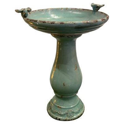 Alpine Corporation Antique Ceramic Birdbath With Birds - Turquoise