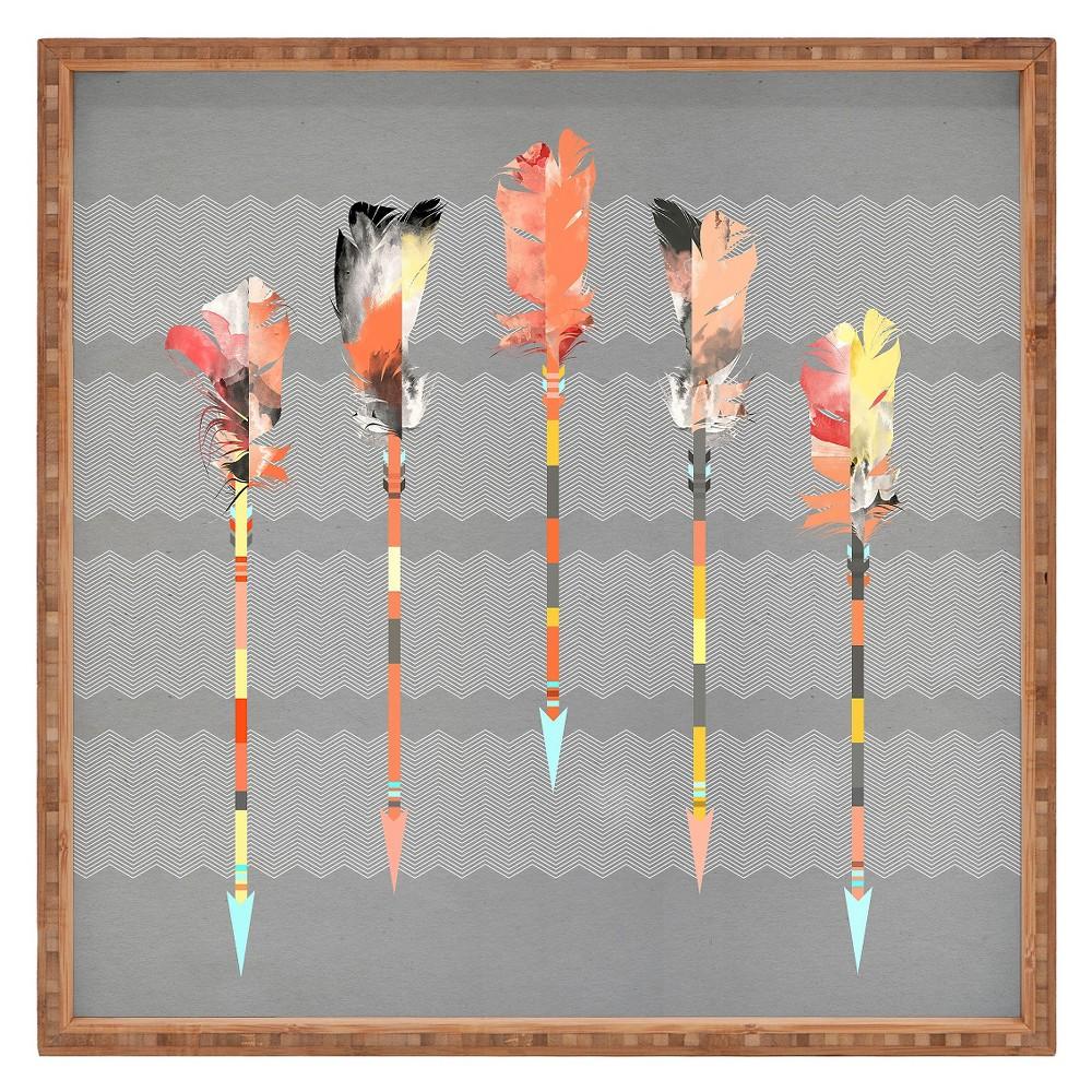 Best Buy Iveta Abolina Gray Pastel Feathers Square Tray Gray Deny Designs Light Gray