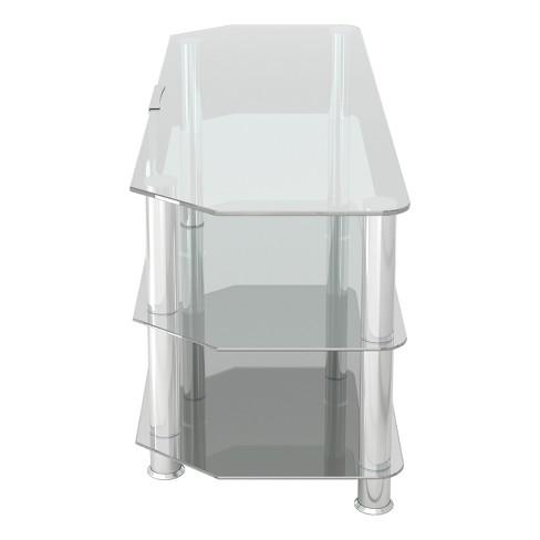 60 Classic Corner Glass Tv Stand Chrome Effect Clear Glass Avf