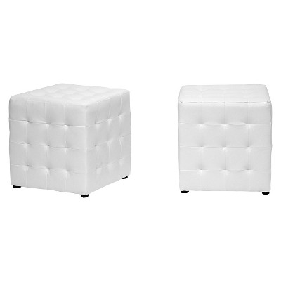 Set of 2 Siskal Modern Cube Ottoman - Baxton Studio