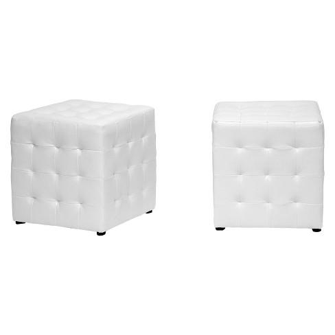 Set of 2 Siskal Modern Cube Ottoman - Baxton Studio - image 1 of 2