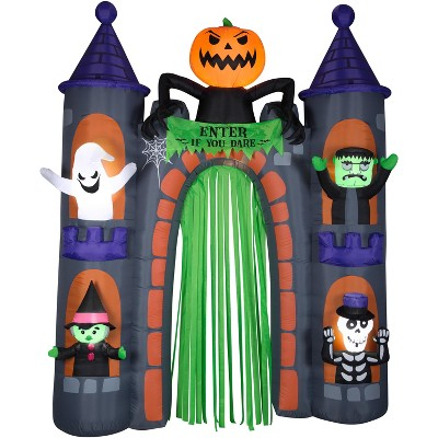 Gemmy Airblown Archway Haunted Castle w/Characters Scene, 9 ft Tall, Purple
