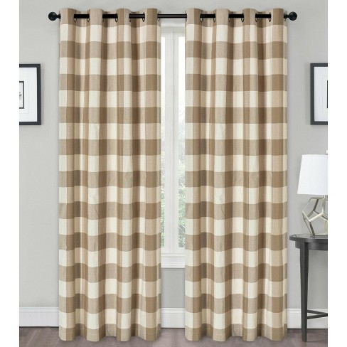Kate Aurora Country Farmhouse Living Classic Buffalo Plaid Checkered Grommet Top Curtains - image 1 of 4