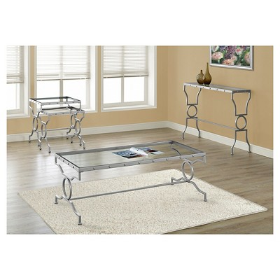 Coffee Table Metal With Tempered Glass Silver   EveryRoom : Target