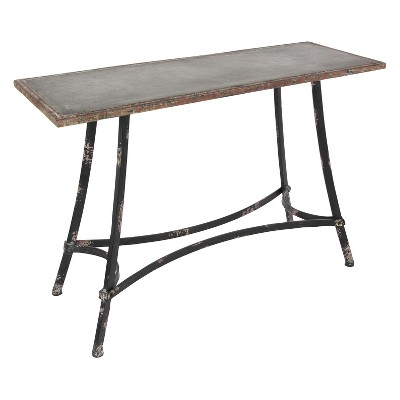 Metal Industrial Arts Style Rectangular Console Table Brown - Olivia & May