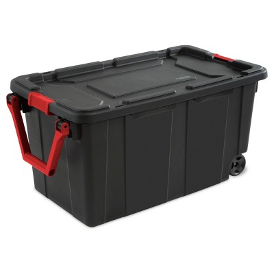 Sterilite 40gal Wheeled Industrial Tote Black With Black Lid Red Latches And Handles