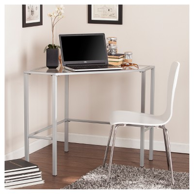 Charmant Keylon Metal And Glass Corner Desk Silver   Aiden Lane