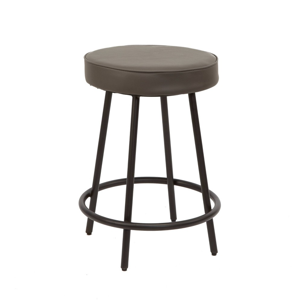 "Image of ""24"""" Carly Upholstered Round Backless Metal Barstool Charcoal - Silverwood"""