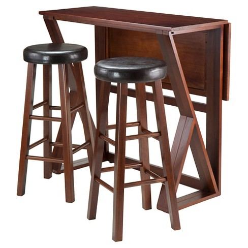 "3 Piece Harrington Set Drop Leaf High Table with Bar Stools Cushion Seat Wood/Walnut & Black 29"" - Winsome - image 1 of 2"