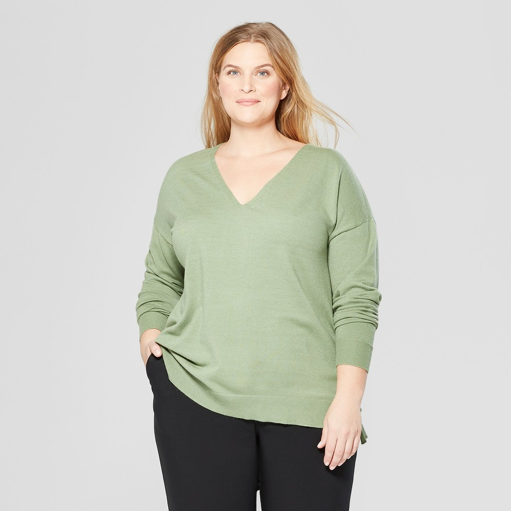 Women's Plus Size Long Sleeve V-Neck Pullover Sweater - Prologue Green X