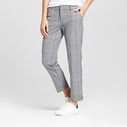 Women S Slim Fit Straight Leg Plaid Ankle Pants A New Day Gray