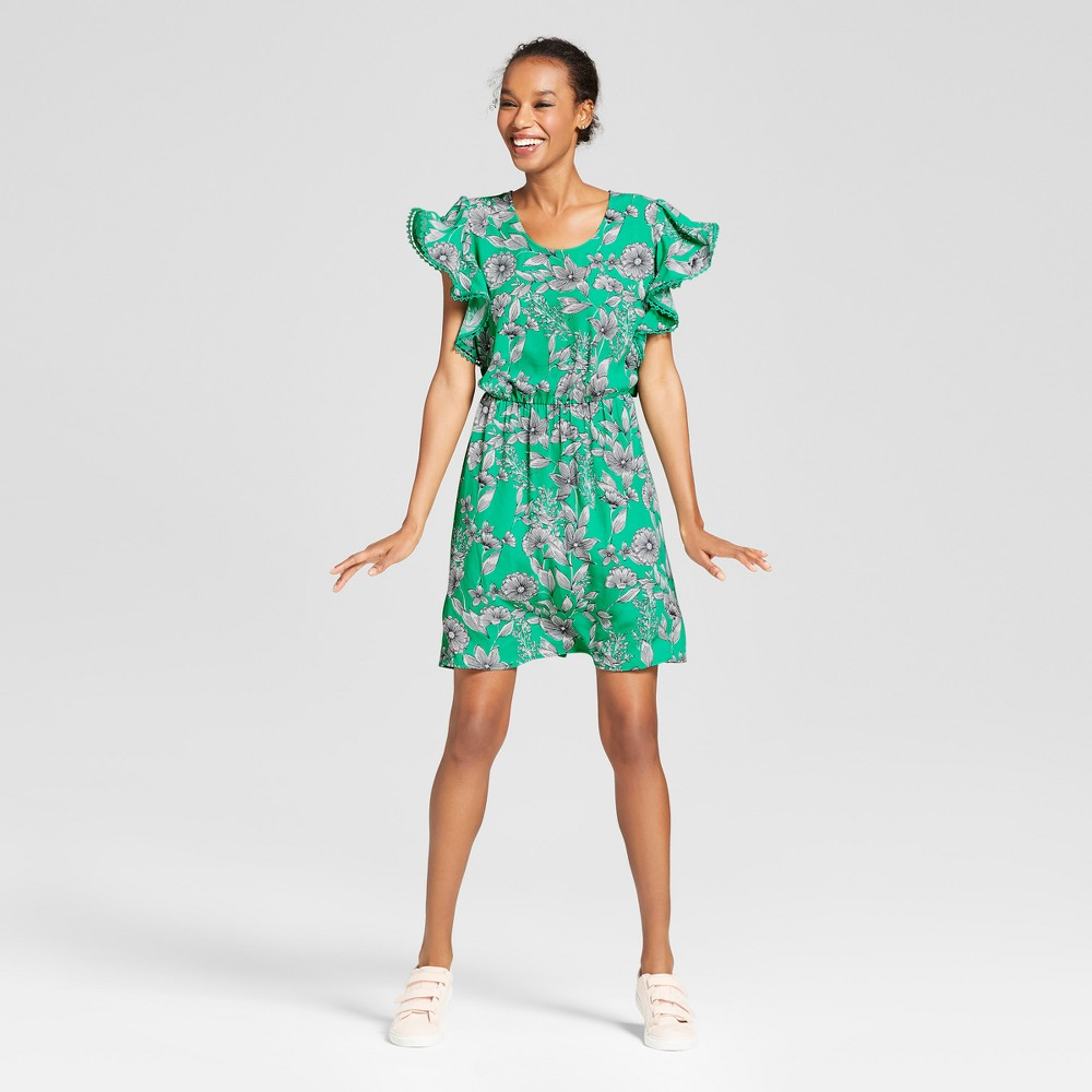 Women's Floral Ruffle Sleeve Dress - A New Day Green L