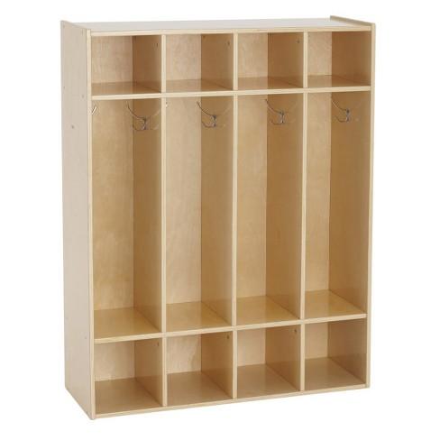 "ECR4Kids 4-Section Classroom Locker | Birch Wood Coat & Backpack Storage for Kids | 46"" H - image 1 of 4"