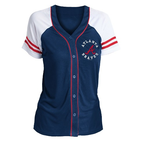 huge discount ba1c9 b79af Atlanta Braves Women's Short Sleeve Button-Up Jersey - XL