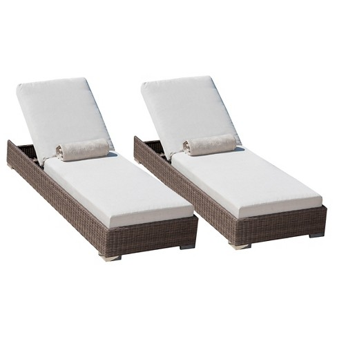 Barcelona Set of 2 Wicker Chaise Lounge Set with Sunbrella Cushions - Brown - Christopher Knight Home - image 1 of 4