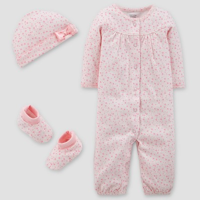 Baby Girls' Converter Gown, Hat and Booties Set - Just One You® made by carter's Pink 9M
