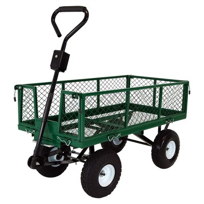 Sunnydaze Outdoor Lawn and Garden Heavy-Duty Durable Steel Mesh Utility Dump Wagon Cart with Removable Sides - Green
