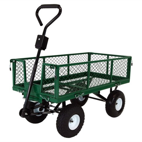 Sunnydaze Decor Steel Heavy-Duty Dumping Utility Cart with Removable Sides - Green - 660-lb Capacity - image 1 of 4