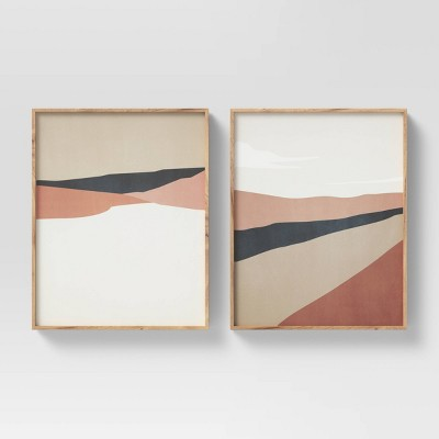 """(Set of 2)16"""" x 20"""" Geo Ritual Cape & Road Floating Framed Canvas - Project 62™"""