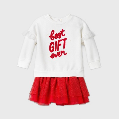 Baby Girls' 'Best Gift Ever' Elevated Tutu Top & Bottom Set - Cat & Jack™ Cream 6-9M