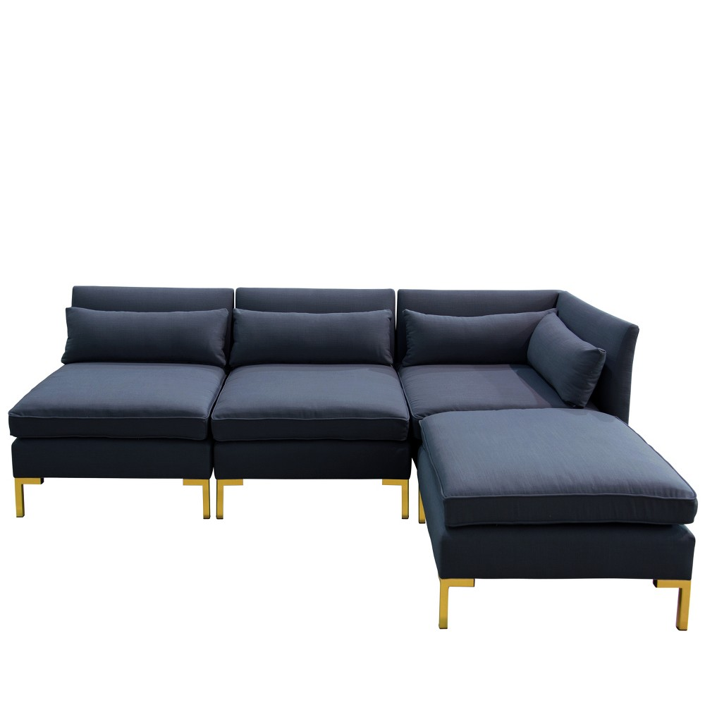 Image of 4pc Alexis Sectional with Brass Metal Y Legs Navy Linen - Cloth & Company
