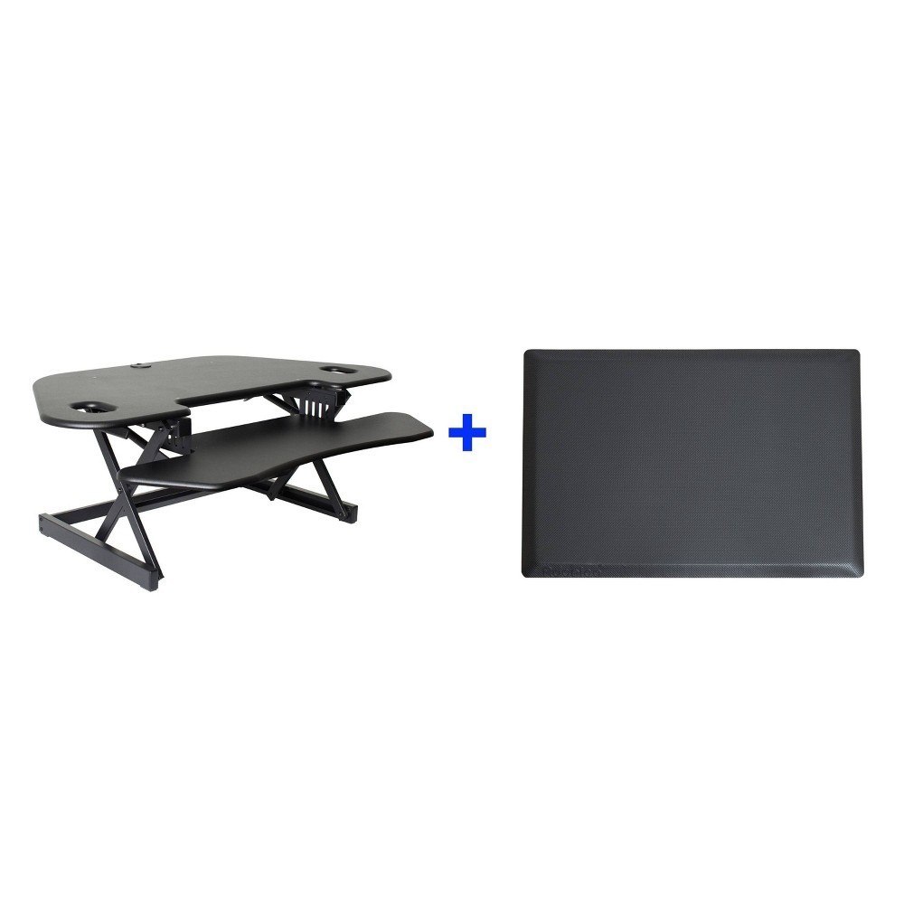 "Image of ""46"""" Corner Adjustable Desk Riser with Medium Energizing Mat Black - Rocelco"""