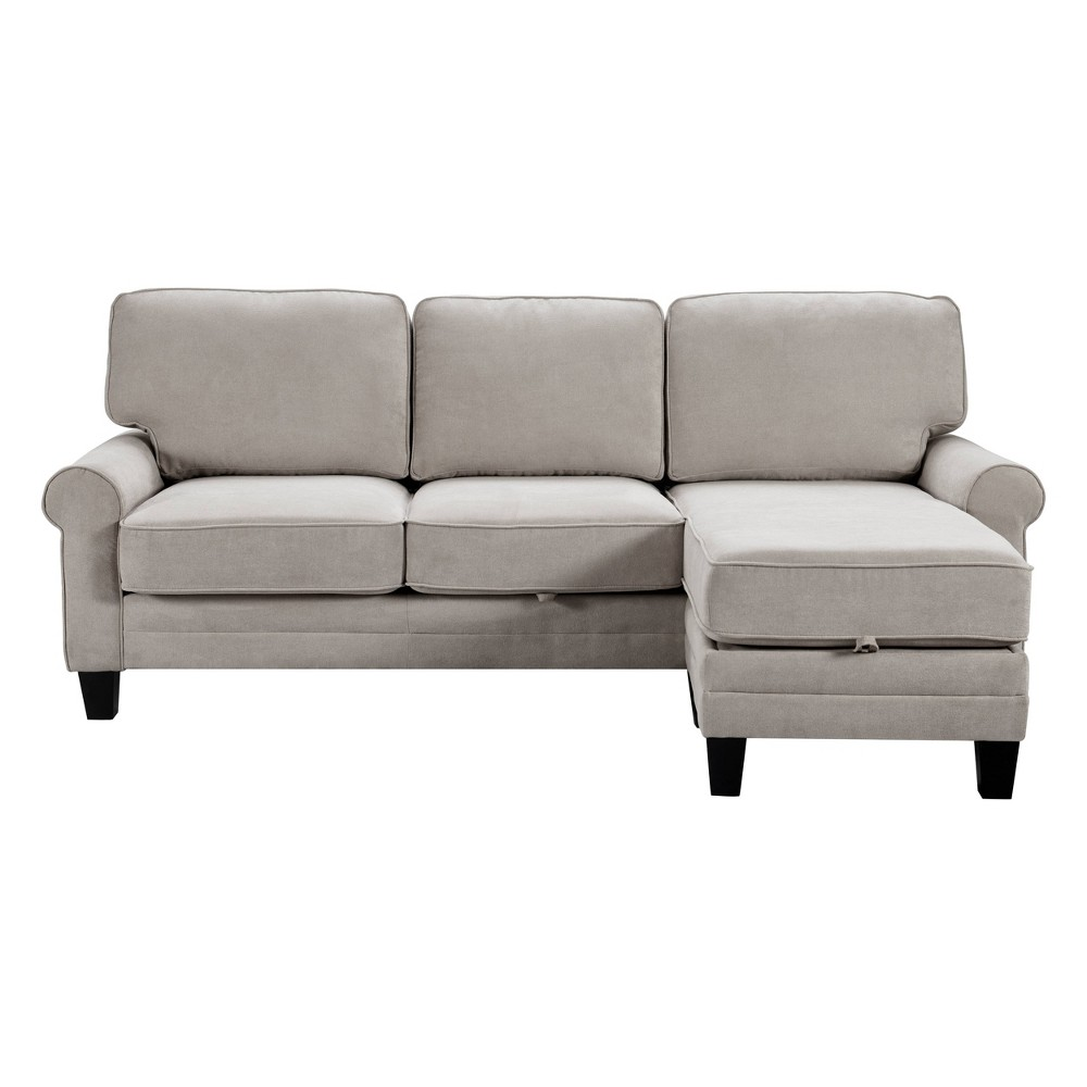 "Image of ""86"""" Copenhagen Reversible Small Space Sectional with Storage Light Gray - Serta"""