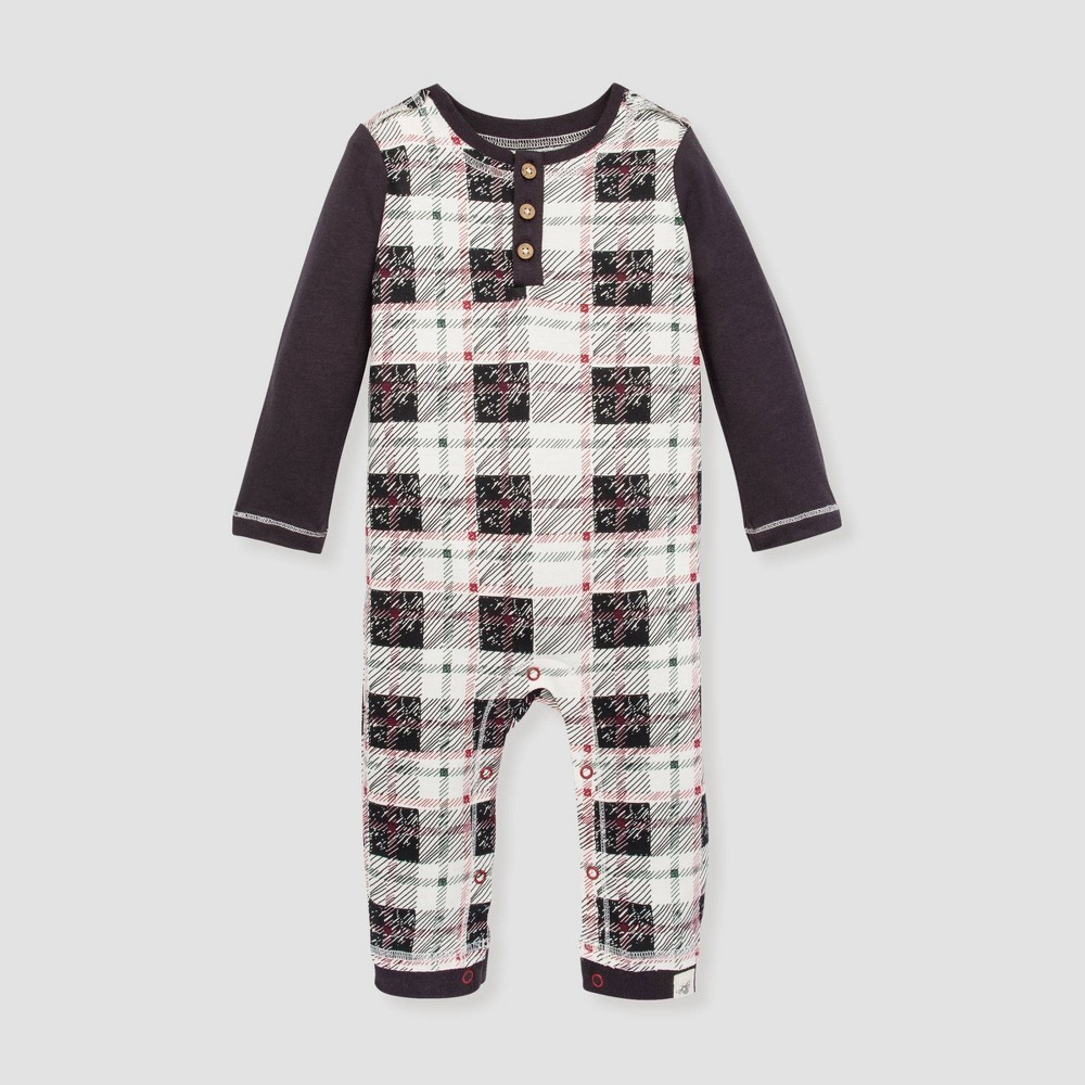 Image of Burt's Bees Baby Baby Boys' Drawn Multi Plaid Henley Organic Cotton Jumpsuit - 0-3M, Boy's, Black
