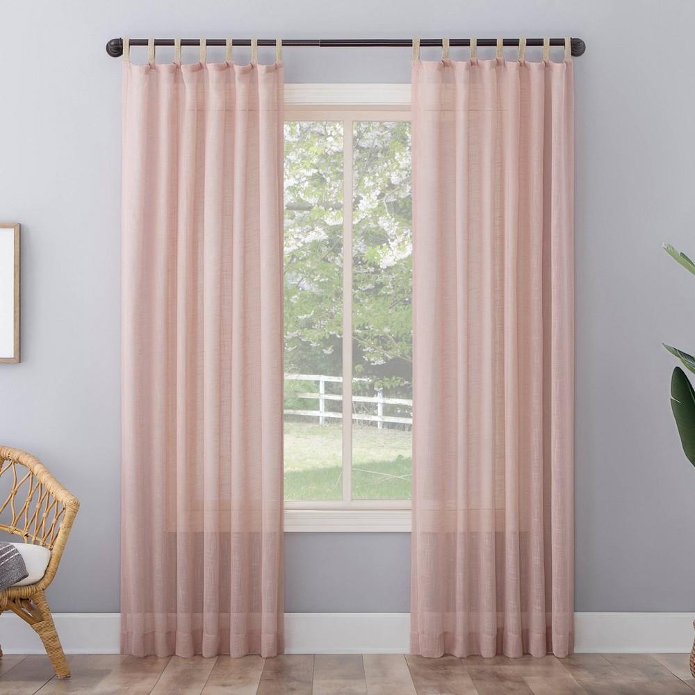 63 34 X50 34 Ceri Linen Textured Jute Tabs Semi Sheer Curtain Panel Pink No 918