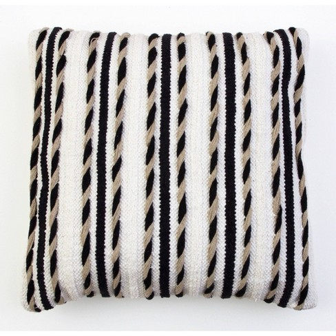"20""X20"" White & Black Hugh Woven Pillow White/Black - Decor Therapy - image 1 of 4"