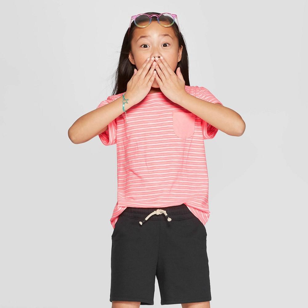 Girls' Short Sleeve Stripe Pocket T-Shirt - Cat & Jack Pink XS
