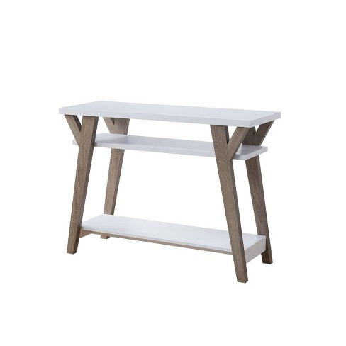 Ennis Transitional Console Table White Distressed Taupe Iohomes