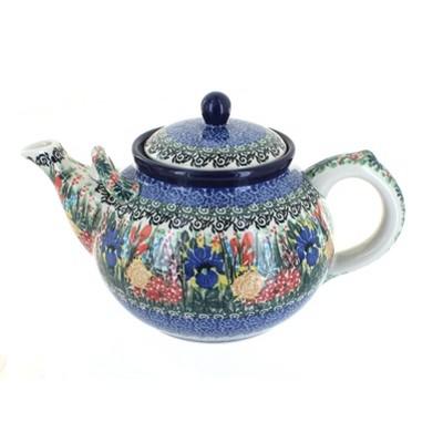 Blue Rose Polish Pottery Summer Blooms Large Teapot