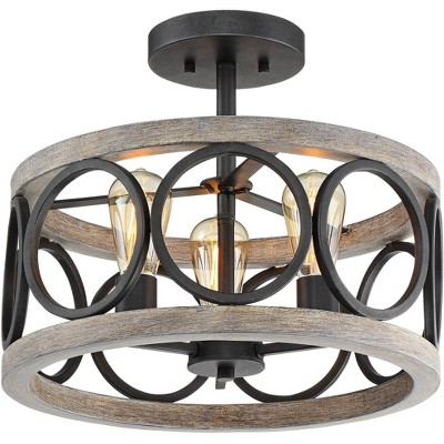"Franklin Iron Works Rustic Farmhouse Ceiling Light Semi Flush Mount Fixture Black Gray Wood 16"" Wide Edison Bulb for Living Room"