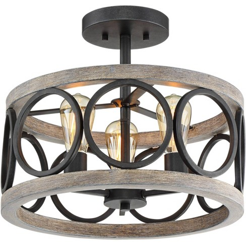 """Franklin Iron Works Rustic Farmhouse Ceiling Light Semi Flush Mount Fixture Black Gray Wood 16"""" Wide Edison Bulb for Living Room - image 1 of 4"""