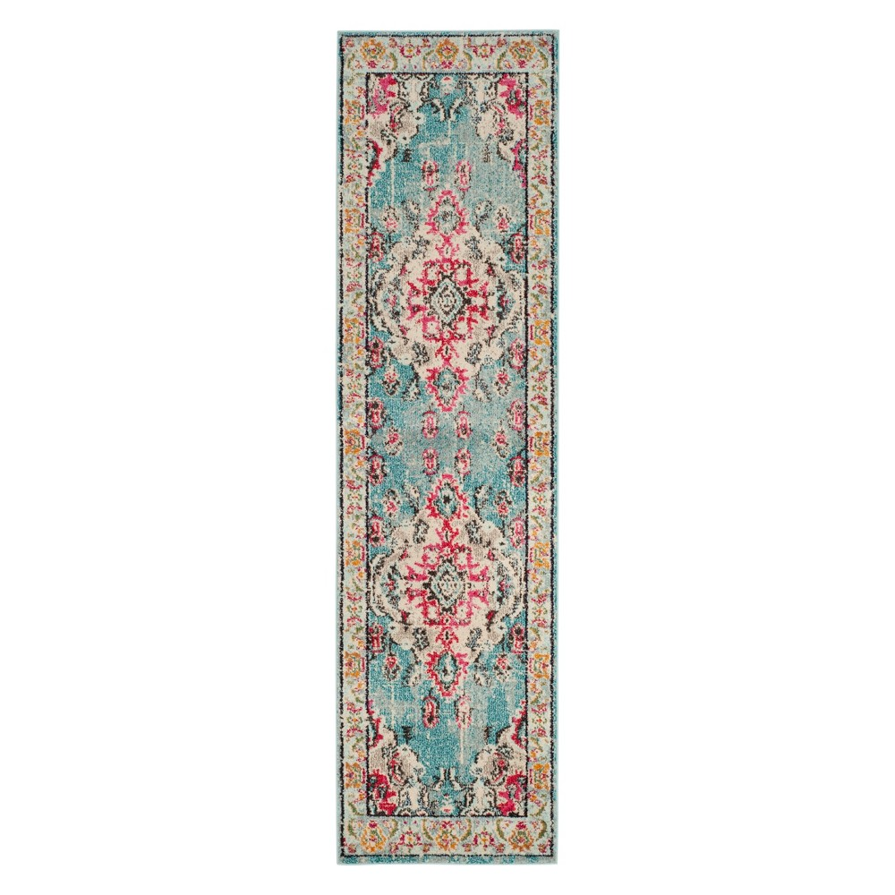2'2X8' Medallion Runner Light Blue/Fuchsia (Light Blue/Pink) - Safavieh