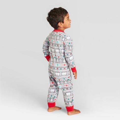 44f101eb9e Toddler Holiday Fuzzy Bear Fair Isle Pajama Union Suit - Wondershop™ White  18M   Target