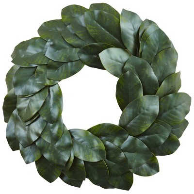 """24"""" Artificial Magnolia Leaf Wreath - Nearly Natural"""