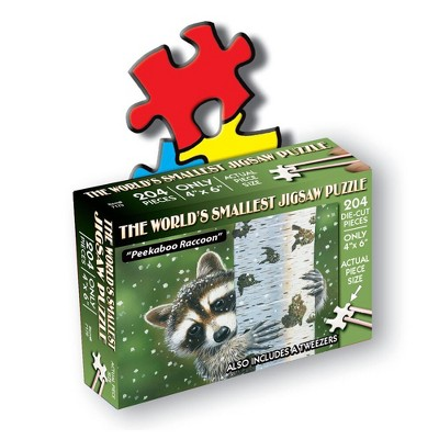 TDC Games World's Smallest Jigsaw Puzzle - Peekaboo Raccoon - Measures 4 x 6 inches when assembled - Includes Tweezers