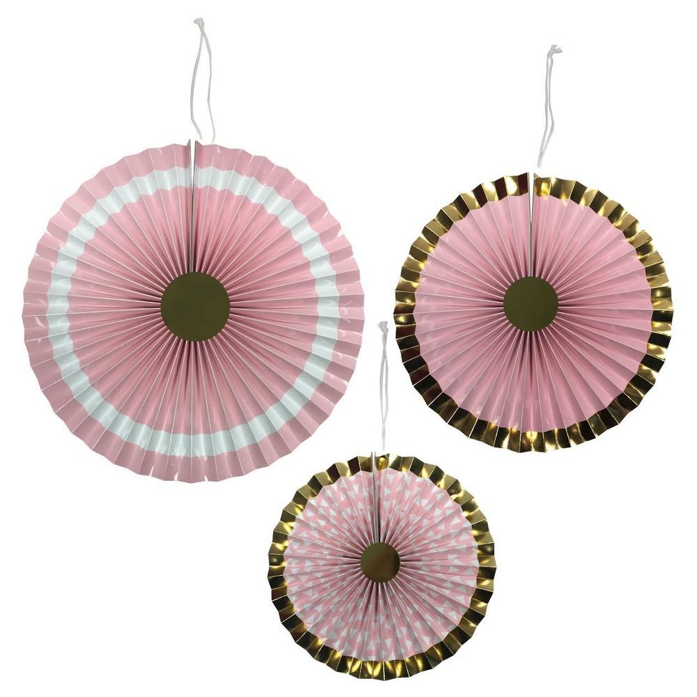 Discounts 3ct Paper Fans Pink - Spritz