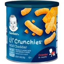 Gerber Lil' Crunchies Baked Non-GMO Whole Grain Corn Snack Mild Cheddar - 1.48oz